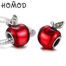 HOMOD DIY European Beads Fits Pandora Red Apple Rhinestone Charms Fit Original Brand Bracelets Bangles Women Gift