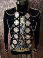 Personalizado Cristais Brilhando Jaqueta Figurinos de Dança Artesanal Strass Boate Cantor Casaco Outerwear Masculino dos homens Roupa