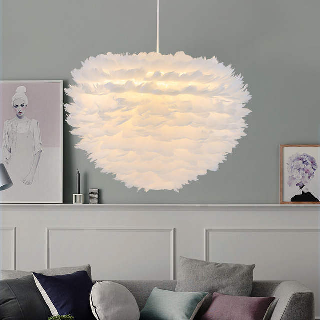 Nordic white feather pendant lights creative personality Nordic bedroom restaurant childrens room bird plume nest pendant lamp