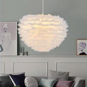 Image 1 - נורדי לבן נוצת תליון אורות creative אישיות נורדי חדר שינה מסעדה חדר ילדים פלומת ציפורים קן תליון מנורה