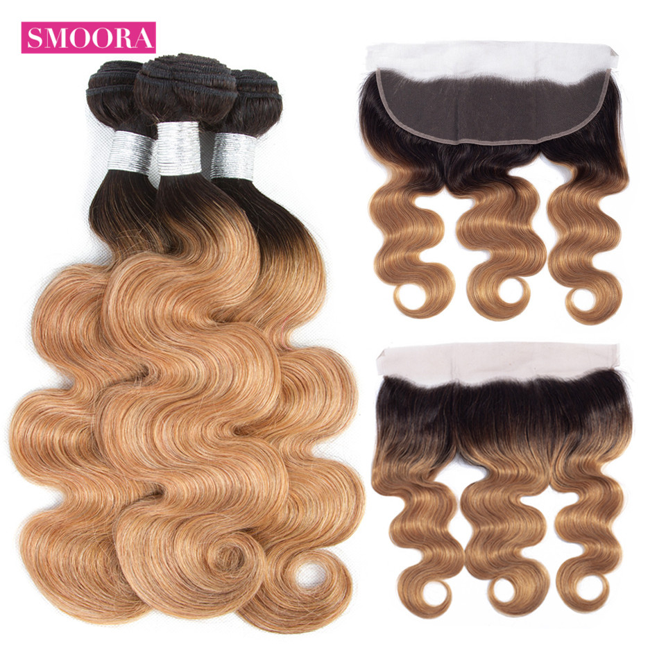 Body wave ombre blonde hair bundle with frontal