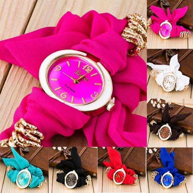 Fashion Cute Women Quartz Bracelet Fabric Analog Wrap Wrist Watch Gift female wa