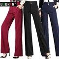 Горячая Продаже! Женщины белье офис рабочие брюки плюс размер 4XL дамы широкие брюки ноги женщины мягкие длинные формальные брюки черный красный синий