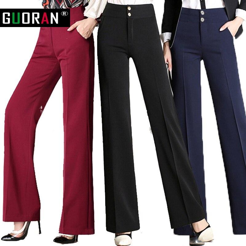 Hot Sale!!Women linen office work trousers plus size 4XL ladies   wide     leg     pants   female soft long formal trousers black red blue