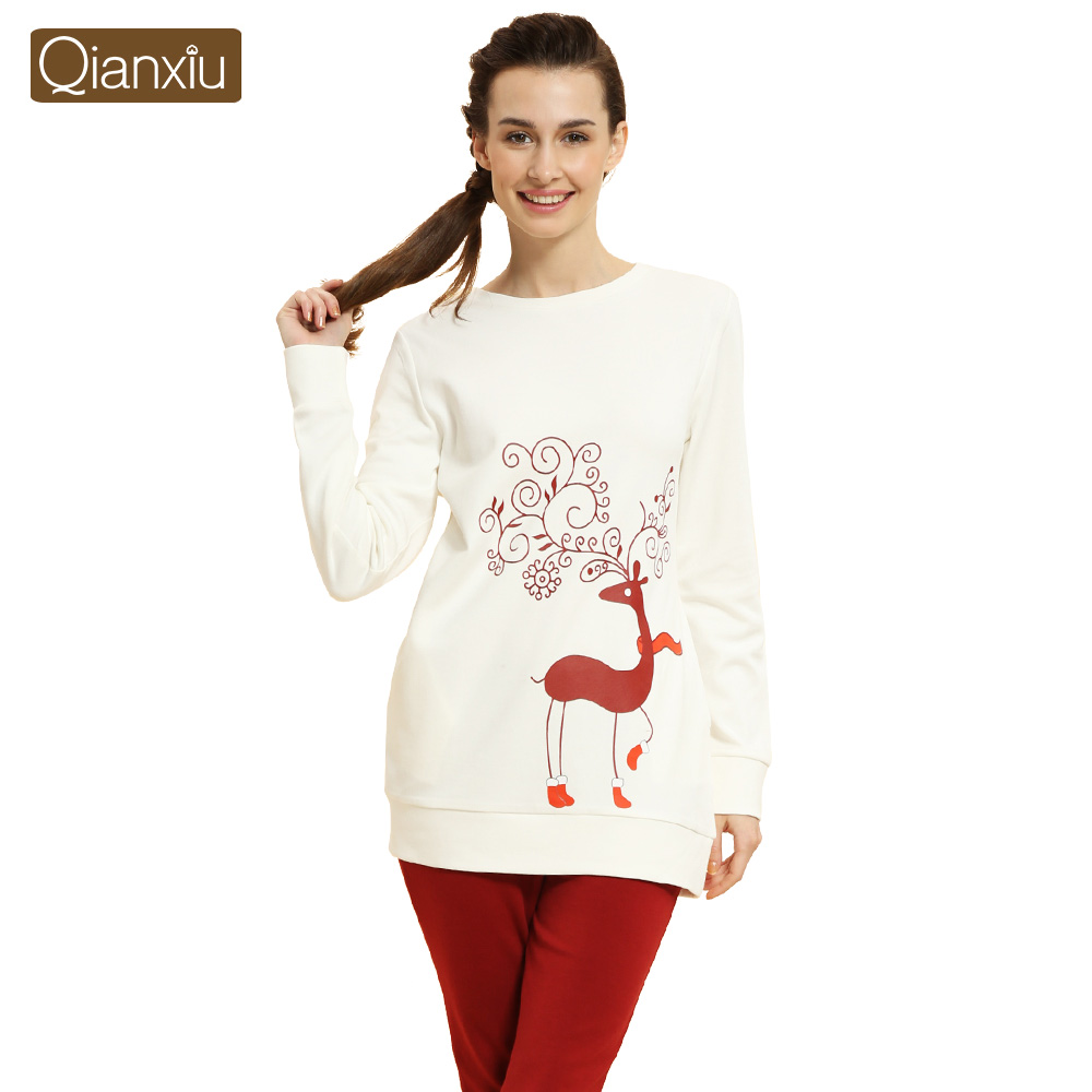 Otoño Primavera Pareja Pijamas Pijama Pijama de Algodón Ciervos de la Navidad Hombres de Las Mujeres