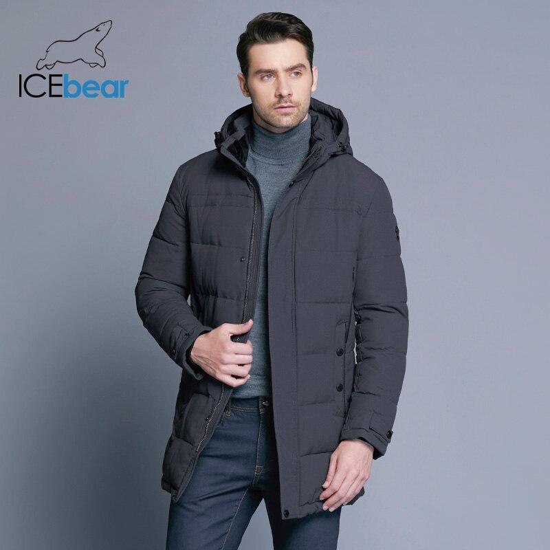 Icebear 2018 мягкая Ткань зима Для мужчин куртка утепленная Повседневное хлопковая куртка Зимние-длинная парка Для мужчин 17MD962D