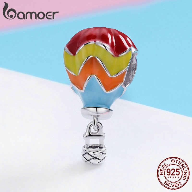 BAMOER 100% стерлингового серебра 925 пробы турецкие воздушные шары турецкие шарики эмалевые бусины подходят шарм браслеты стерлингового серебра ювелирные изделия SCC867