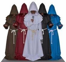 Monge com capuz manto manto cape frade medieval renascentista sacerdote men robe roupas dia das bruxas comic con festa cosplay traje