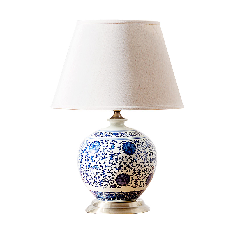 High End Classical Chinese Modern Blue And White Porcelain Fabric Led E27 Table Lamp For Living Room Bedroom H 50cm 1282