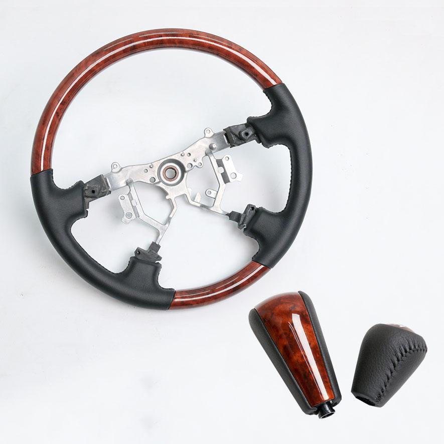 Car Aluminum Leather Steering Wheel Gear Shift Konb For Toyota Land Cruiser Prado FJ150 FJ120 2003-2019 Models