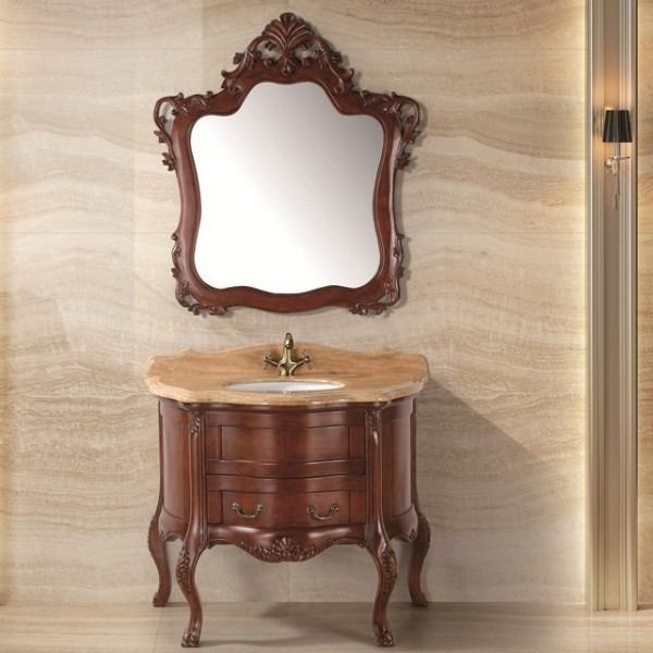 European Design Retrial And Wholesale Round Shape Solid Wood - Round bathroom vanity cabinets