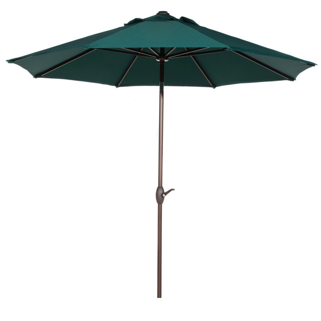 Abba Patio 9 Ft Market Aluminum Umbrella with Push Button Tilt and Crank 8 Steel Ribs Dark Green