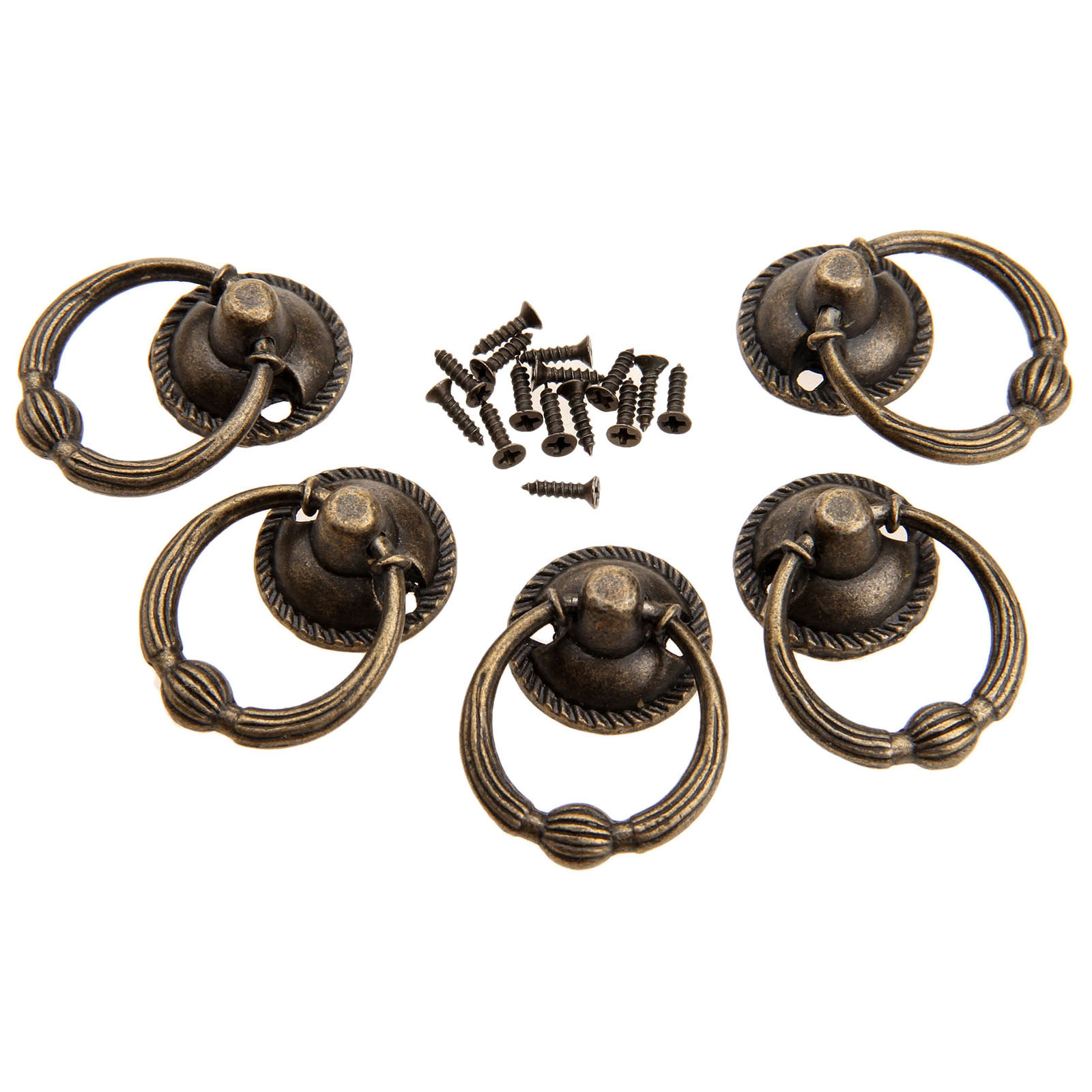 1Pc Antique Bronze Metal Kitchen Drawer Cabinet Door Handle Furniture Knobs Hardware Cupboard Antique Brass Ring Pull Handles 100pcs metal kitchen drawer cabinet door handle furniture knobs hardware cupboard shell pull handles