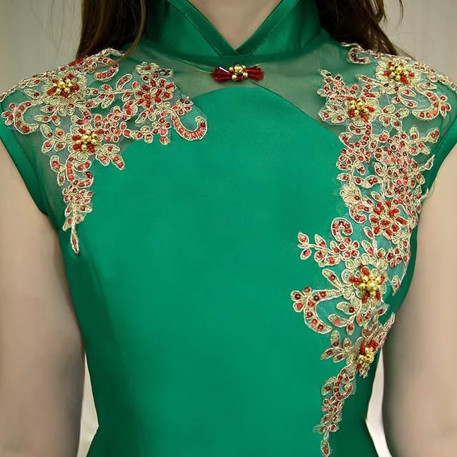 chinese traditional qipao dress sleeveless women wedding gown fishtail  sequin long mermaid green china cheongsam red 5469011ff60c