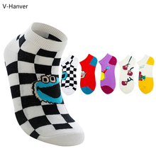 V-Hanver 1 Pair Cute Chic Smiling Face Striped Pattern Women Socks Creative Cotton Funny For Female Girls Ladies Meias