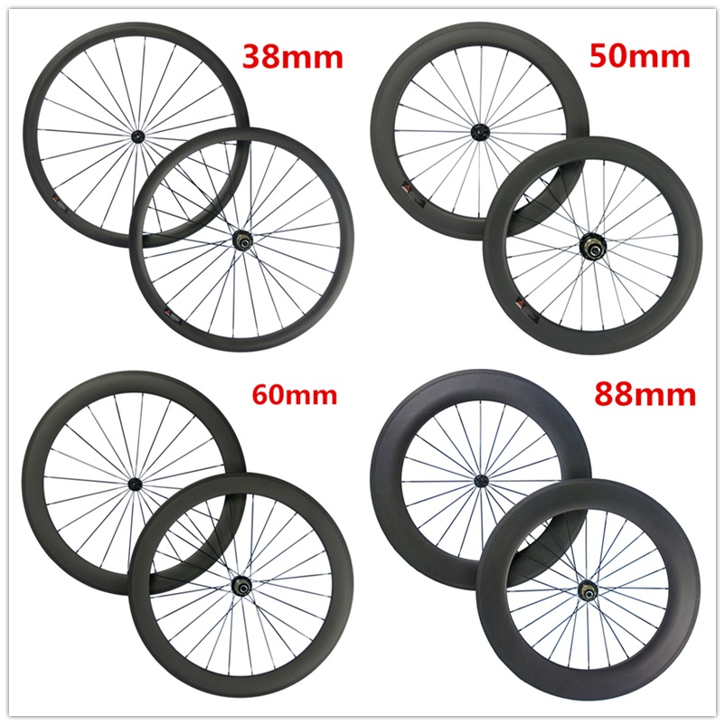A Pair Carbon wheel 38mm 50mm 60mm 88mm Clincher Tubular Road Bike Carbon Wheelset 23mm Width Basalt Brake Surface Wheels