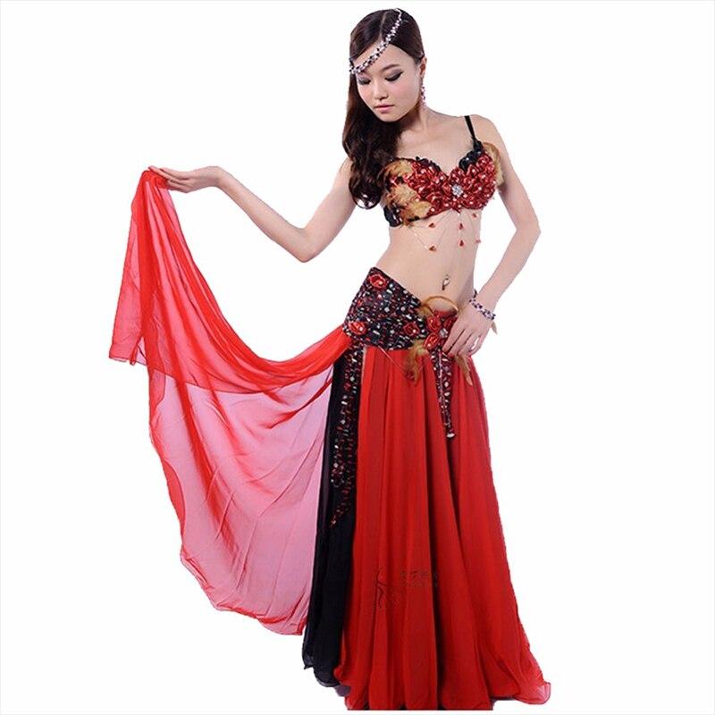 Costume de danse du ventre deux pièces soutien-gorge et taille et jupe d'étanchéité robe indienne rouge/violet Ropa Danza Del Vientre Costumes de danse orientale