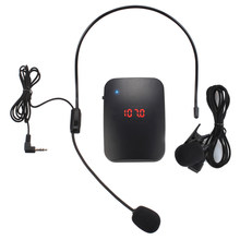 FM Wireless Microphone Transmitter with Headset Mic & Lapel Mic for Teacher Tour Guide XR649(China)