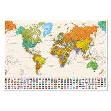 Красочная карта мира с национальным флагом, размер плаката, украшение стены, большая карта мира, 100x68 см, водонепроницаемая парусиновая карта