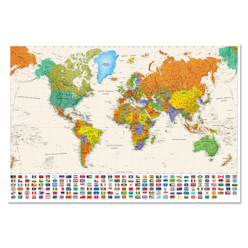 colorful canvas world map with national flag poster size for wall decoration 100x68cm waterproof