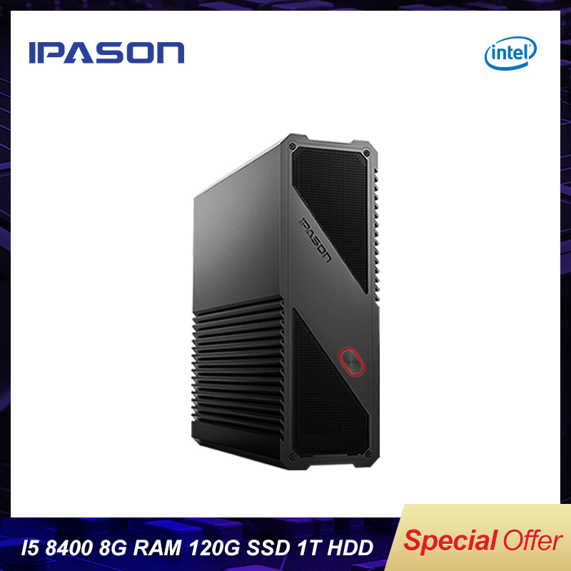 IPASON Gaming Mini PC 8th Gen Intel 6-Core I5 8400 8GB DDR4 1T 120G SSD Desktop PC For Windows10 Bare Bone Computer HDMI/USB*4