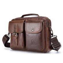 New Vintage Men's Briefcase Male Genuine Leather men bags Messenger Bag Men's Shoulder Bags Leather Laptop Bag men for document