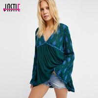Jastie Oversized Diamond Embroidered Tunic V Neck Open Back Sexy Shirts Tops Bell Sleeve Boho Blouse