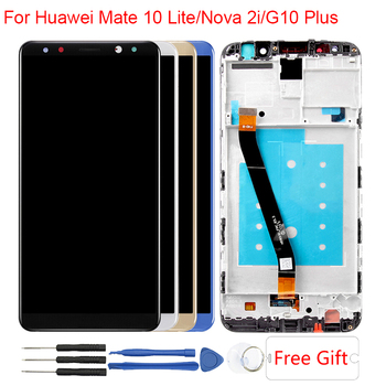 Mate 10 Lite LCD Huawei Mate 10 Lite Için Ekran Çerçevesi G10/G10 Artı RNE-AL00 Nova 2i RNE-L21 Dokunmatik ekran Ekran Meclisi