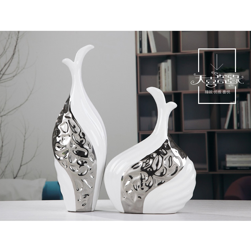 2PCS/set White Silver Ceramic Lovers Fish Home Decor Crafts Kiss Fish Room  Decor Ornament Porcelain Figurines Wedding Decor In Figurines U0026 Miniatures  From ...