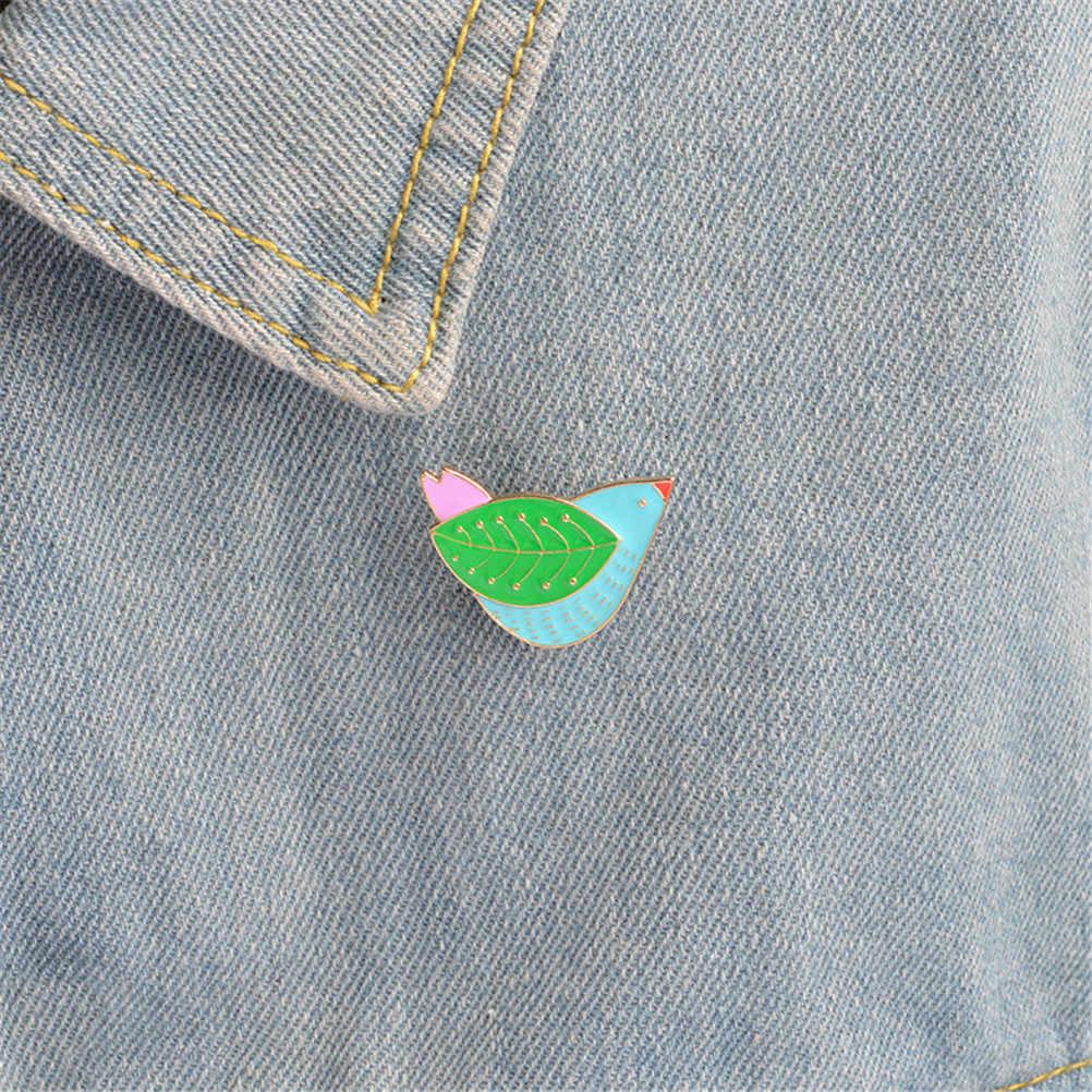 Logam Wanita Klasik Fashion Akses Sweater Pin Crystal Christams Menelan Lencana Enamel Pin Burung Bros