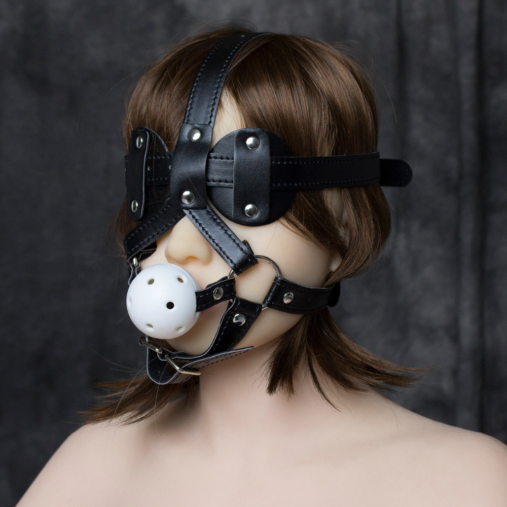 PU leather head harness bondage restraint ball open mouth gag eye mask cover adult fetish SM sex game toy for women men couple стоимость