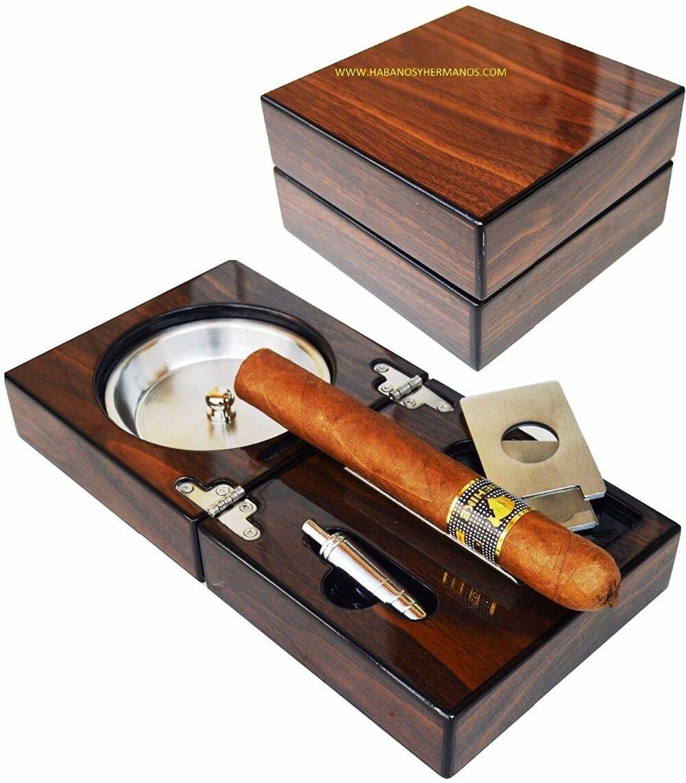 Nouveau 1 set cigare Cubain cendrier, solide Boîte en bois en acier inoxydable cendrier + Cigare Punch + Coupe + Titulaire portable Pliable