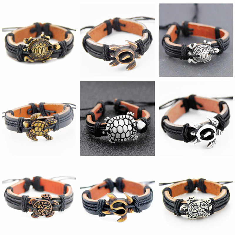 Men Women's Jewelry Wholesale 10pcs MXIED Cool Hawaiian surf Sea Turtles Pendant Surfing Leather Bracelets Bangles Gifts