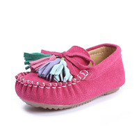 Children Moccasins Girls Boat Shoes Flats Real Leather Boys Loafers Kids Sneakers Toddler Baby Girls Sport Shoes Tassel Red