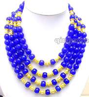 Beautiful Big 10MM Blue Round High Quality stone and GP beads 18 21 4 Strands NECKLACE nec5772 Wholesale/retai