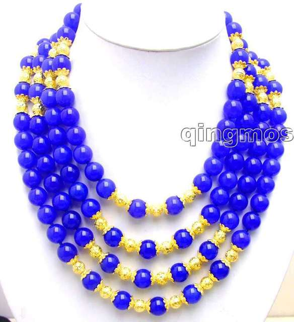 "SALE Beautiful Big 10MM Blue Round High Quality jade and GP beads 18-21"" 4 Strands NECKLACE-nec5772 Wholesale/retai"