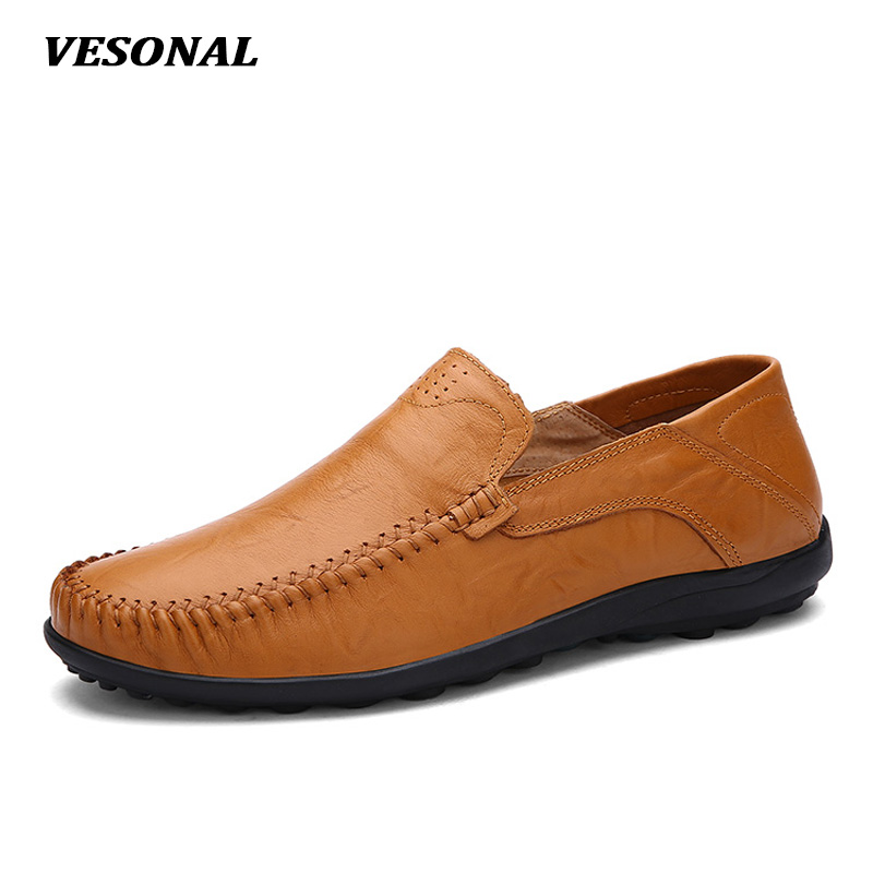 VESONAL New 2017 Brand Slip On Luxury Genuine Leather Flats Mens Loafers Men Shoes Casual Fashion Driving Designer V8008
