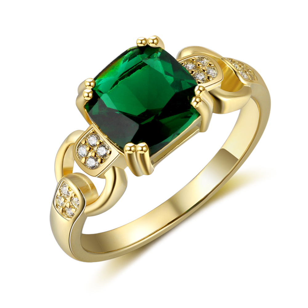 Wedding-Rings Gold-Color Cubic-Zirconia Women Female Jewelry Square Green Engagement