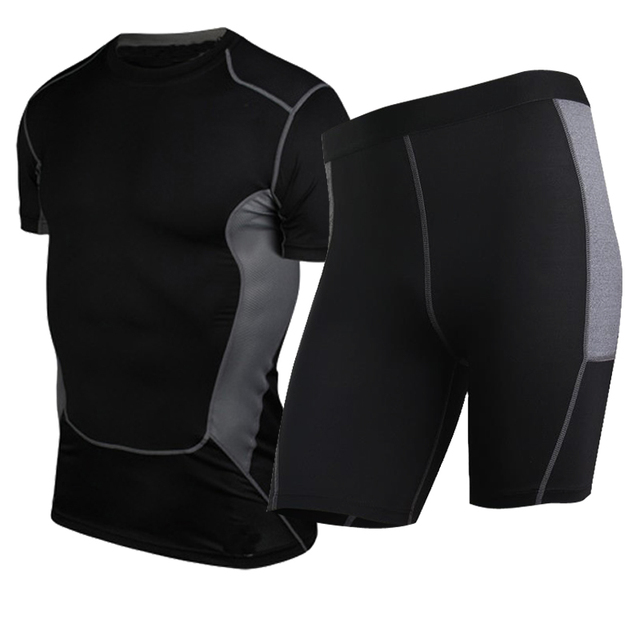 Compression Tights Running Set Quick Dry Sportswear Short Sleeve T-Shirt & Short