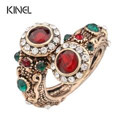 Turecki czerwone pierścienie antyczne złoto kolor kobiet biżuteria podwójna głowa czerwony klejnot kamień palec serdeczny darmowa wysyłka