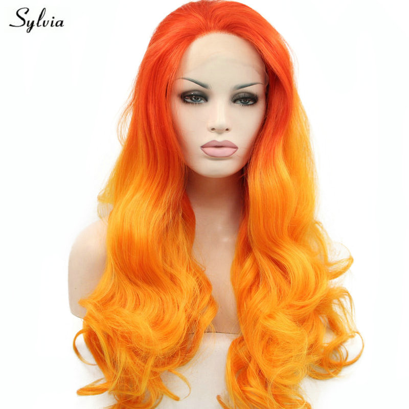 Sylvia Long Body Wave Darksalmon Ombre Orange Wig Synthetic Lace Front Wig Natural Hairline Cosplay For