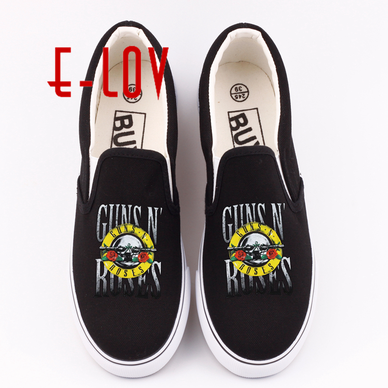 E-LOV Fashion Brand Canvas Shoes Print Gan N Roses Rock Band Summer Casual  Flat Shoes For Women Custom Loafer Shoes Plus Size e lov women casual walking shoes graffiti aries horoscope canvas shoe low top flat oxford shoes for couples lovers