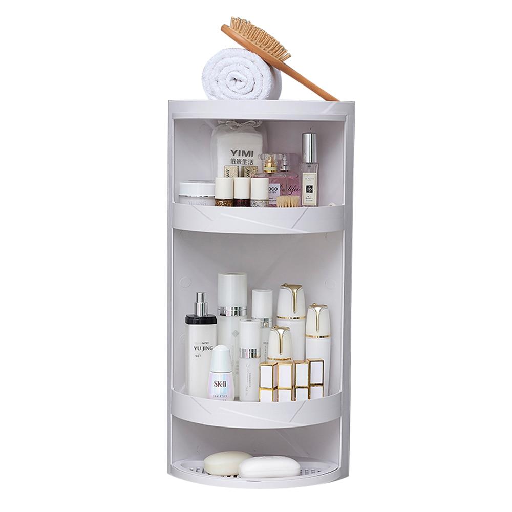 Rotating bathroom shelf plastic kitchen triangle storage rack free punching suction wall large storage box wx8021507