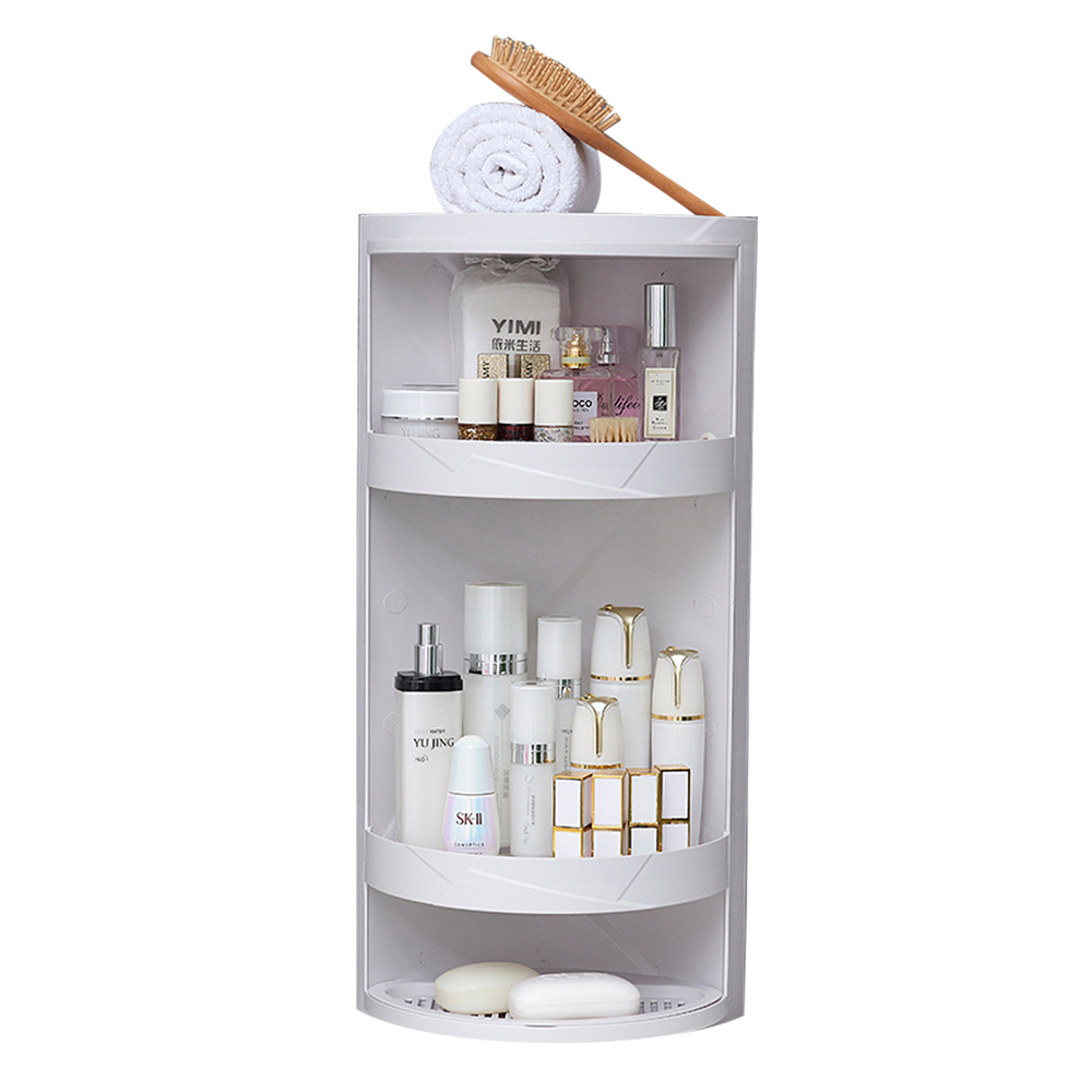 Rotating bathroom shelf plastic kitchen triangle storage rack free punching suction wall large storage box wx8021507-in Bathroom Shelves from Home Improvement    1