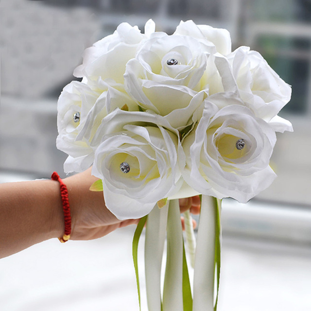 Hand made real touch silk flower roses for bridesmaid bouquet with hand made real touch silk flower roses for bridesmaid bouquet with artificial diamond and ribbon white mightylinksfo