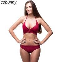 Cobunny Sexy Halter Bikini 2018 Swimwear Women Swimsuit Push Up Brazilian Bikini Set Beach Bathing Suit