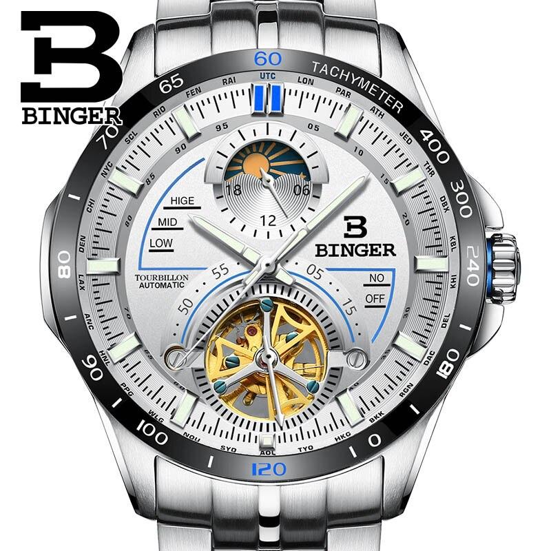 Reloj de pulsera mecánico automático Tourbillon de marca de lujo para hombre de Suiza BINGER, reloj de pulsera luminoso de zafiro para hombre-in Relojes mecánicos from Relojes de pulsera    1