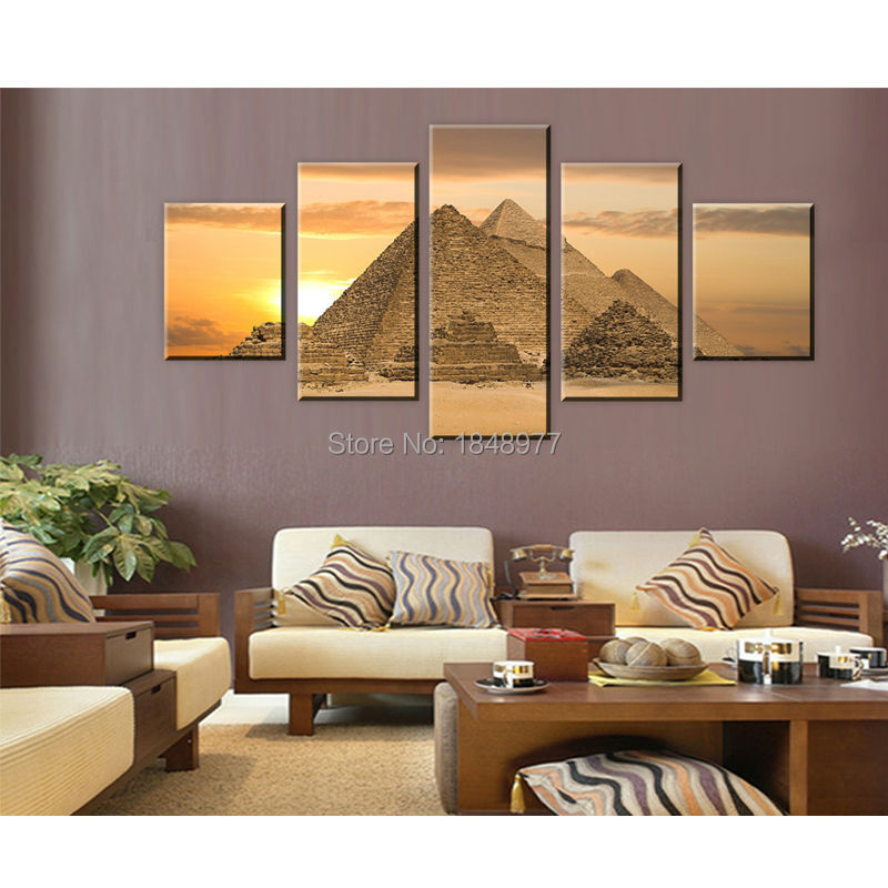Aliexpress Com Buy 5 Piece The Most Mysterious Tomb Egyptian Pyramids Canvas Wall Art Picture Painting Home Decor Canvas Prints For Living Room From