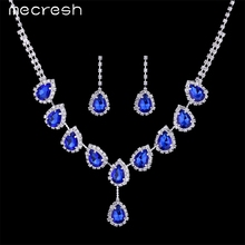 Mecresh Blue Crystal Teardrop Wedding Bridal Jewelry Sets Rhinestone Necklace Set for Women African Beads Jewelry Set TL018
