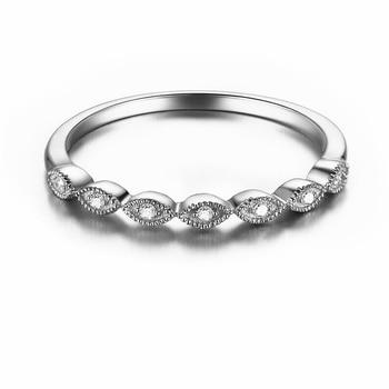 HELON Solid 14K (AU585) White Gold 0.1ct Natural Diamonds Engagement Ring Ladys Wedding Band Ring Elegant Trendy Fine Jewelry 1